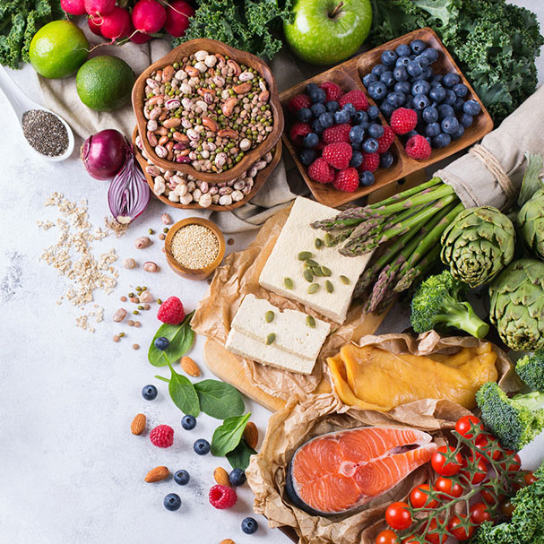 Verschiedene gesunde Lebensmittel